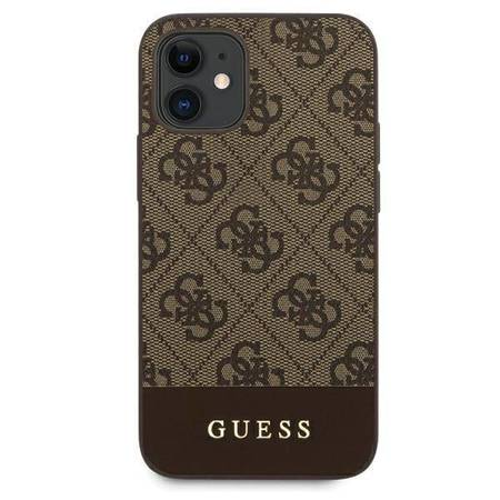 Guess 4G Bottom Stripe Collection - Etui iPhone 12 mini (brązowy)