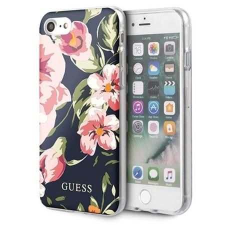 Guess Flower Shiny Collection N3 - Etui iPhone SE 2020 / 8 / 7 (Navy)