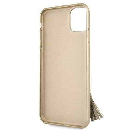 Guess GUHCN65RSSABE iPhone 11 Pro Max beige/beżowy hard case Saffiano with ring stand