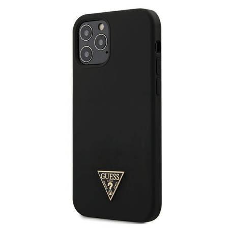 "Guess GUHCP12MLSTMBK iPhone 12/12 Pro 6,1"" black/czarny hardcase Silicone Triangle Logo"