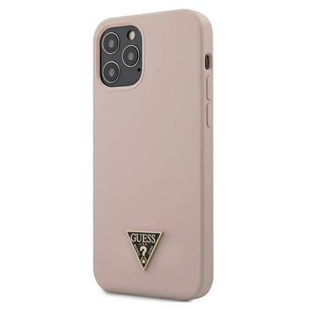 """Guess GUHCP12MLSTMLP iPhone 12/12 Pro 6,1"""" jasnoróżowy/light pink hardcase Silicone Triangle Logo"""