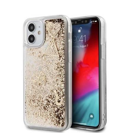 Guess Liquid Glitter Charms - Etui iPhone 12 Mini (złoty)