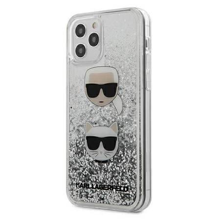 Karl Lagerfeld Liquid Glitter 2 Heads - Etui iPhone 12 Pro Max (srebrny)