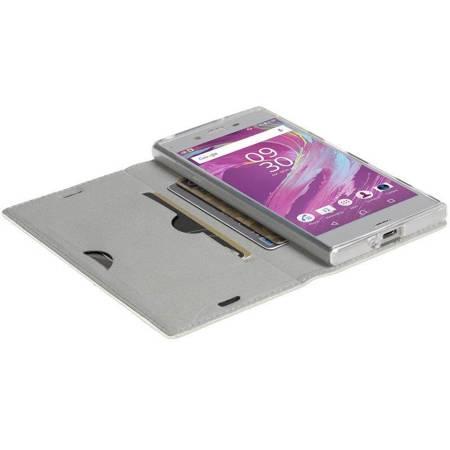Krusell Malmo 4 Card Foliocase - Etui Sony Xperia XA1 z kieszeniami na karty + stand up (biały)