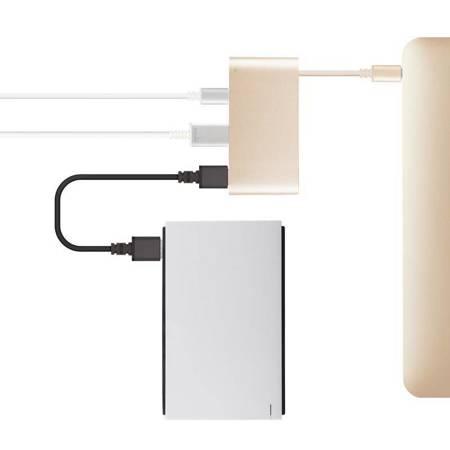 Moshi USB-C Multiport Adapter - Aluminiowy hub 3-w-1 USB-C/Thunderbolt 3 (Satin Gold)