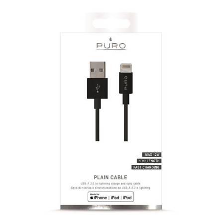 PURO Kabel połączeniowy USB Apple złącze Lightning MFi 1m (czarny)