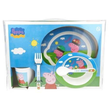 Peppa Pig -  Zestaw naczyń do mikrofali 5 szt (Talerz, miska, kubeczek, widelec, łyżeczka)