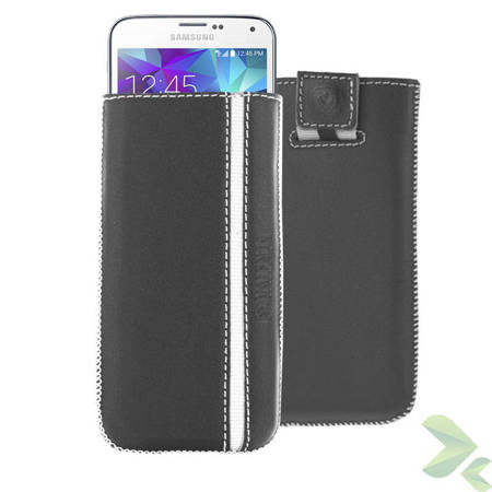 Valenta Pocket Stripe - Skórzane etui wsuwka Samsung Galaxy S5, Sony Xperia Z i inne (czarny)