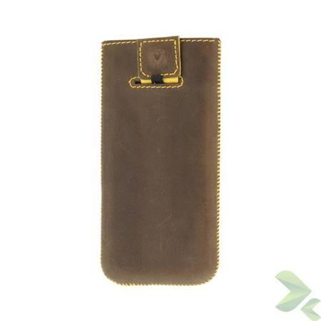 Valenta Pocket Stripe Vintage - Skórzane etui wsuwka Samsung Galaxy S4/S III, HTC One i inne (brązowy)