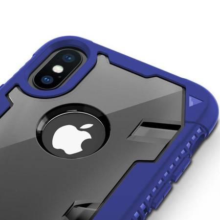 Zizo Proton Case - Pancerne etui iPhone X ze szkłem 9H na ekran (Blue/Trans Clear)